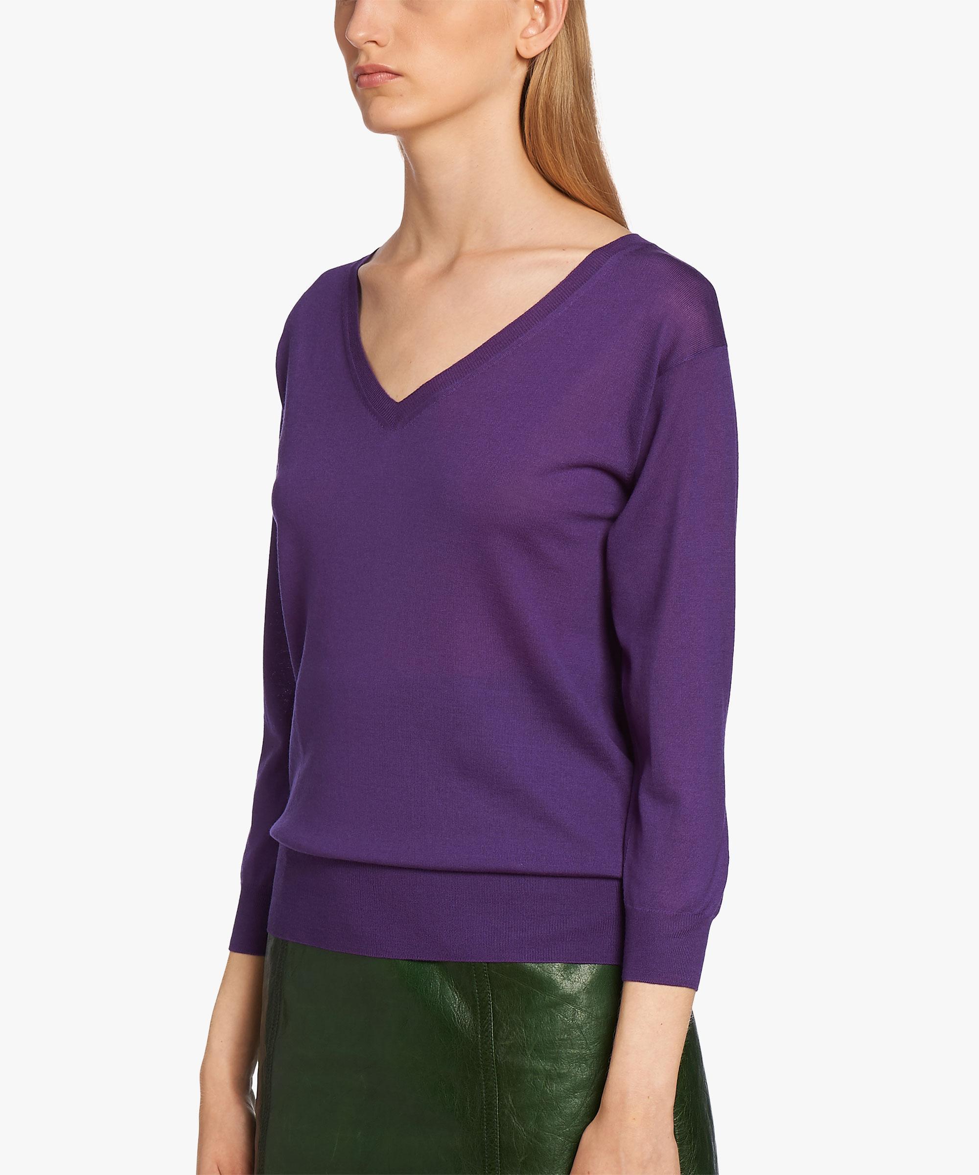 Prada Merino Wool Sweater in Purple | Lyst
