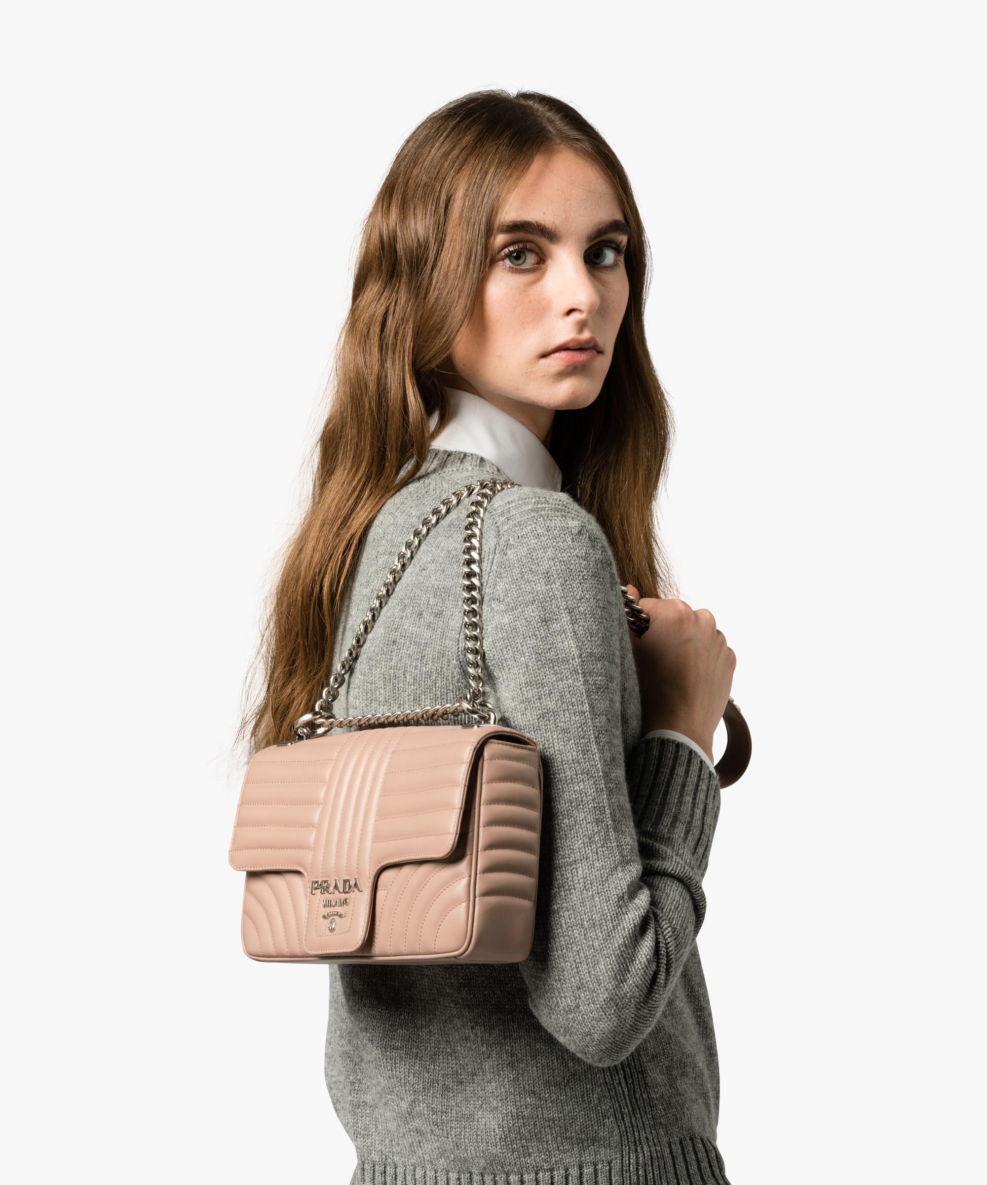 4b65ec8ef3a Prada Diagramme Leather Shoulder Bag - Lyst