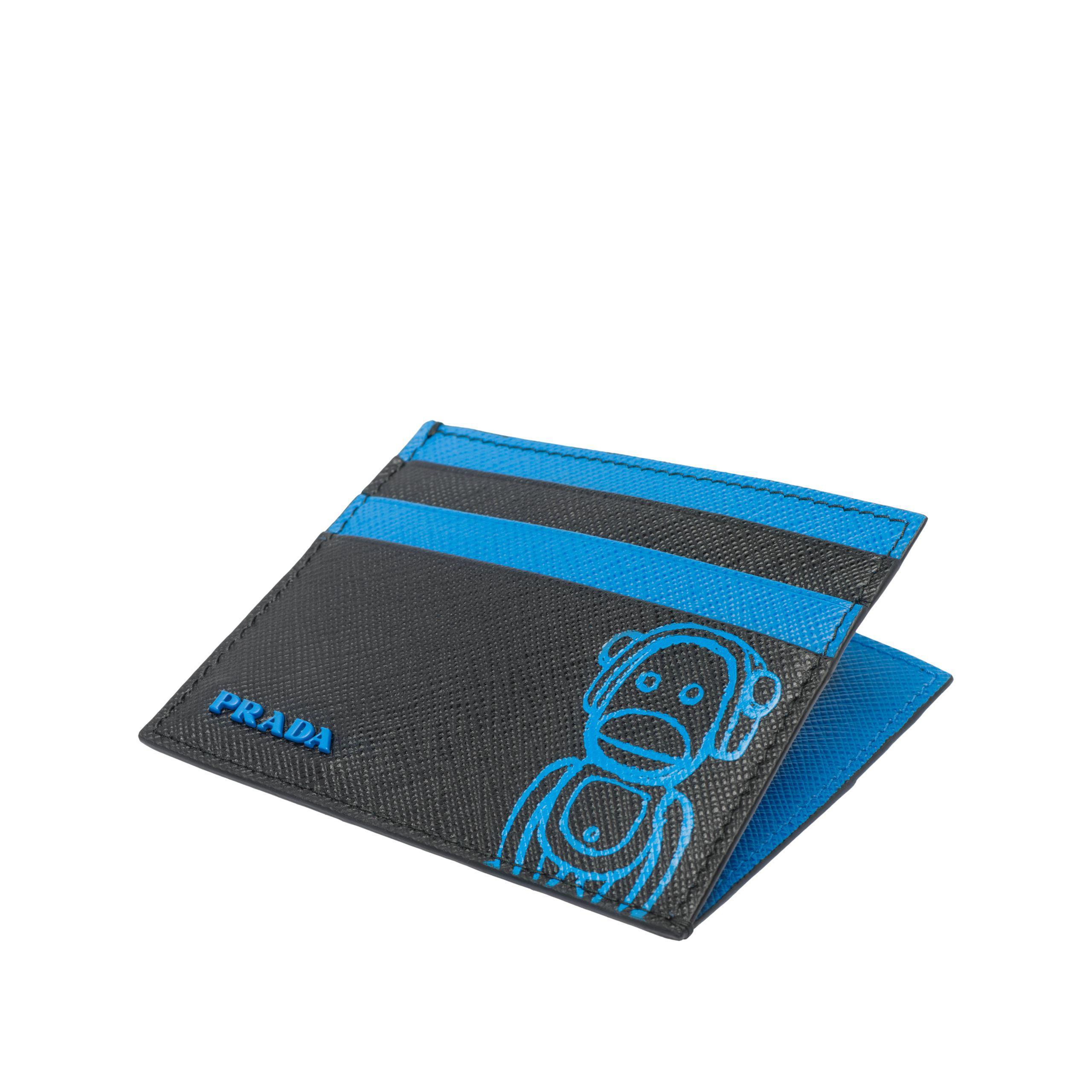 Prada Malia Saffiano Leather Card Holder in Blue for Men - Lyst