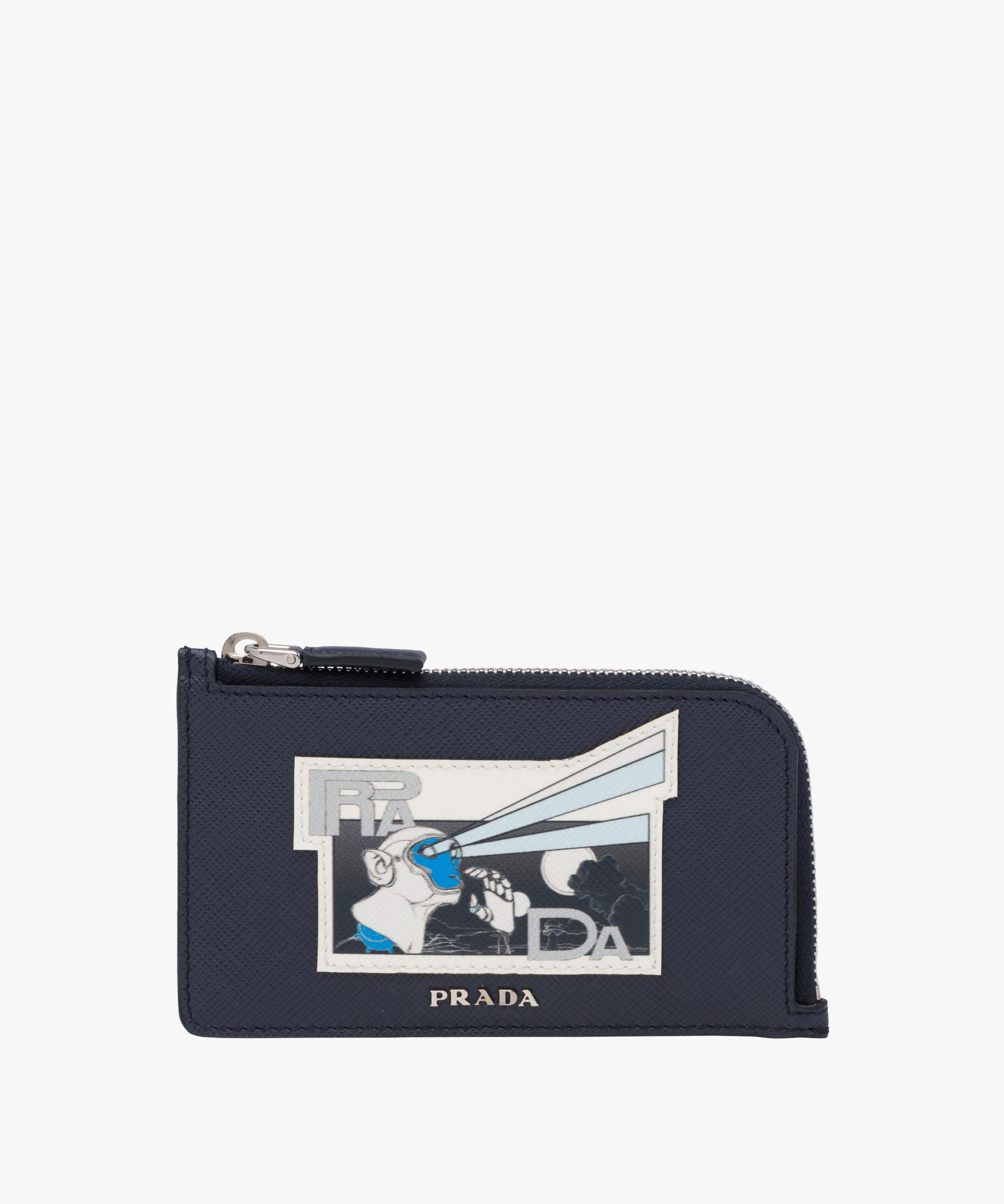 336952da641 ... italy lyst prada saffiano leather credit card holder in blue for men  e3c17 71bc4