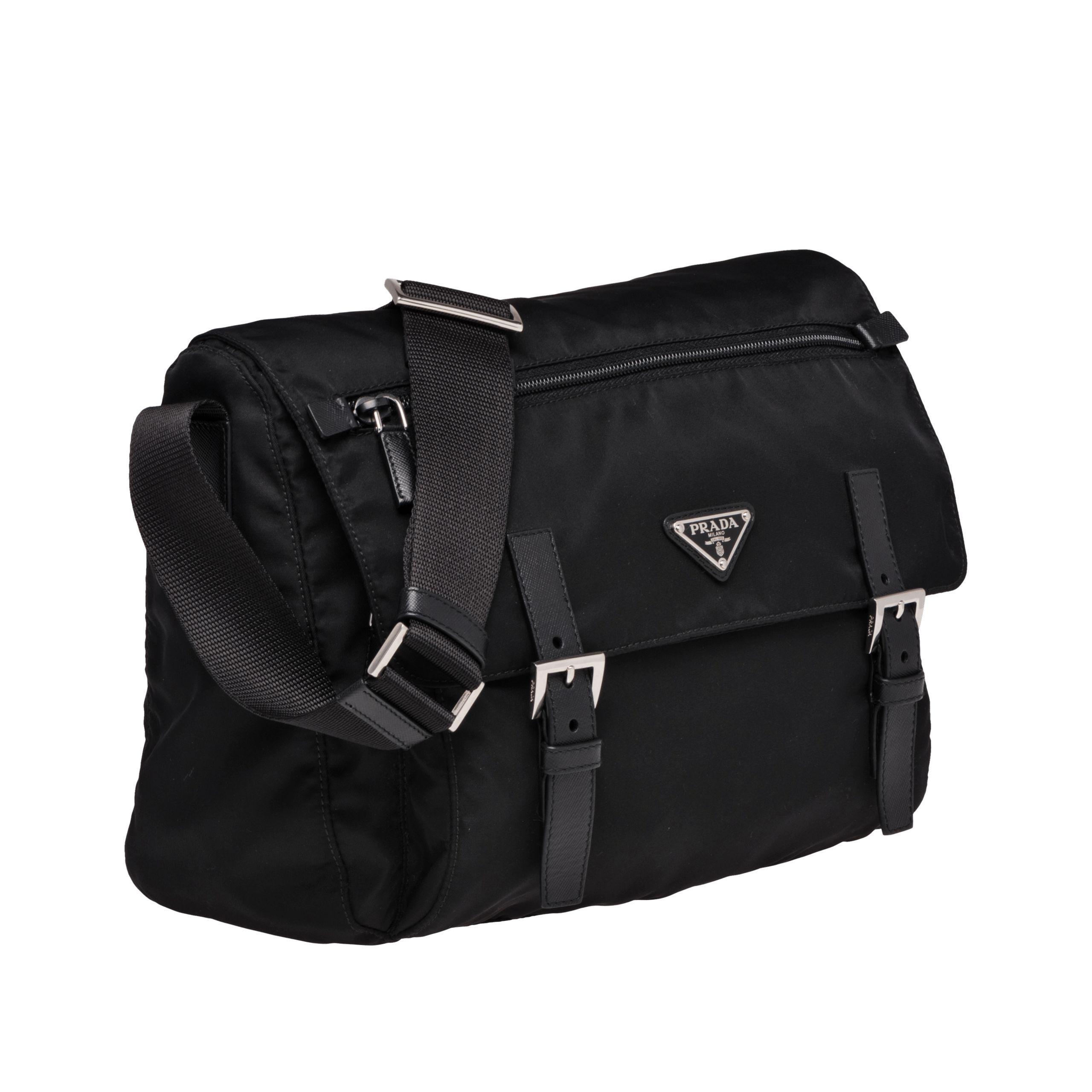 013cfbad85 ... nylon double compartment crossbody bag black nero 0d220 05d3d cheap  prada black fabric bag lyst. view fullscreen eb24c 4384d ...