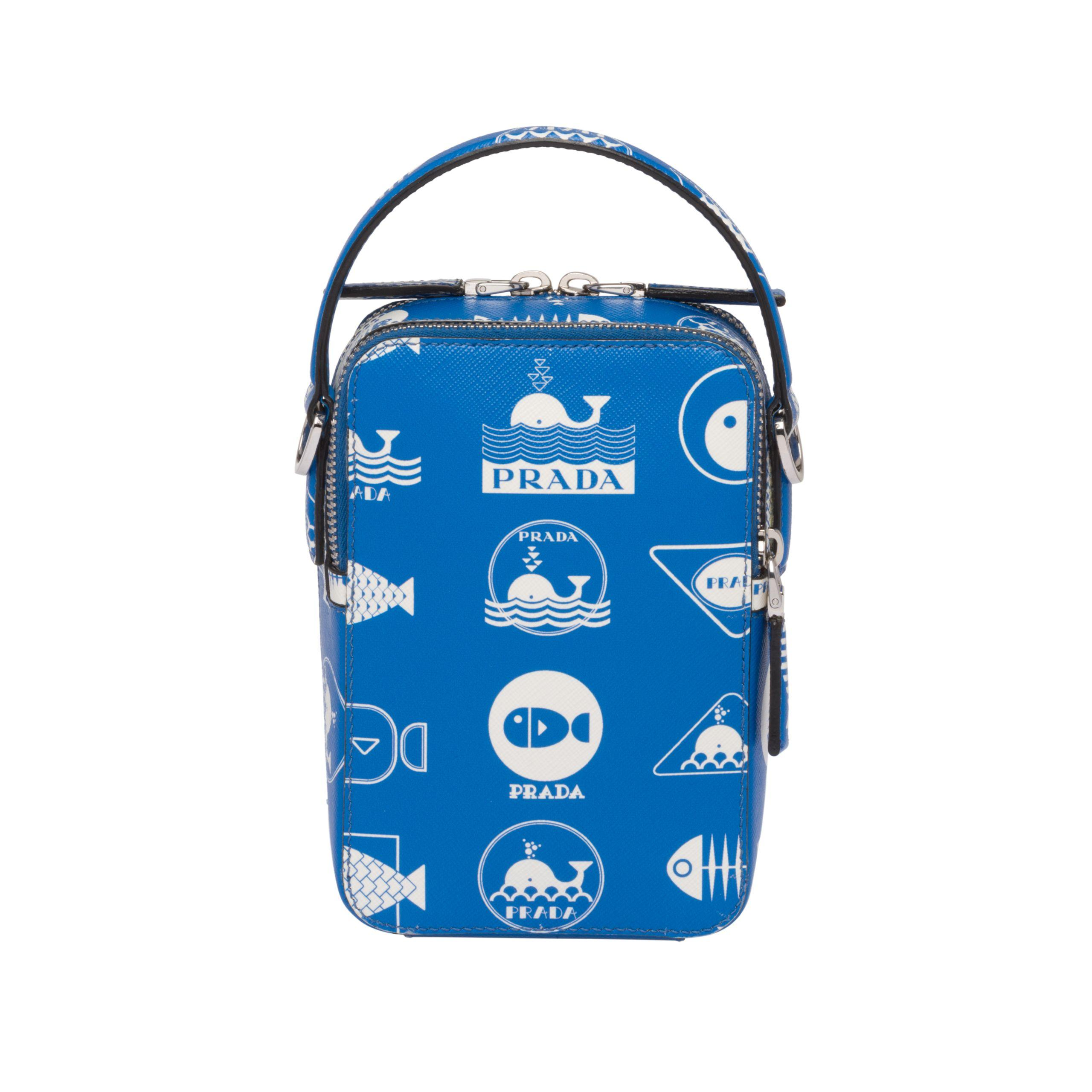 5a0407ef22fd Prada - Blue Brique Saffiano Leather Bag for Men - Lyst. View fullscreen