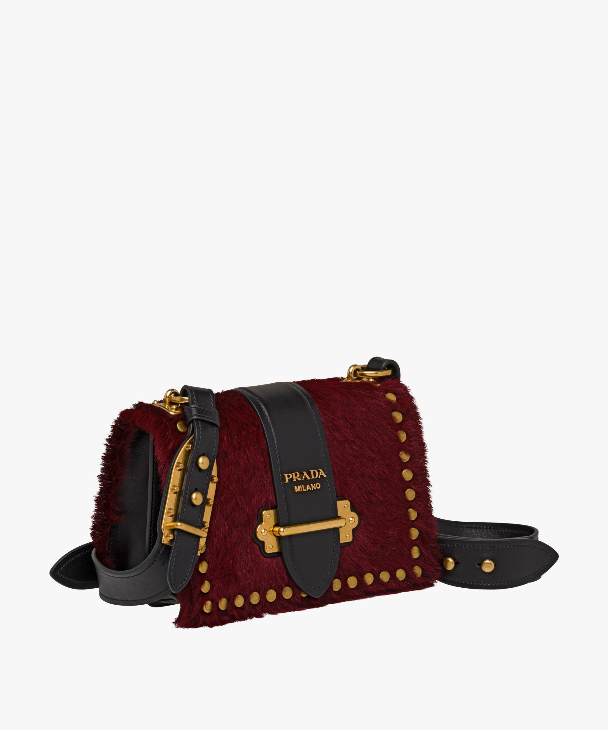 aea5f868525 ... leather tote 2018a d43fd switzerland lyst prada cahier calf hair bag in  red e334b b045b ...
