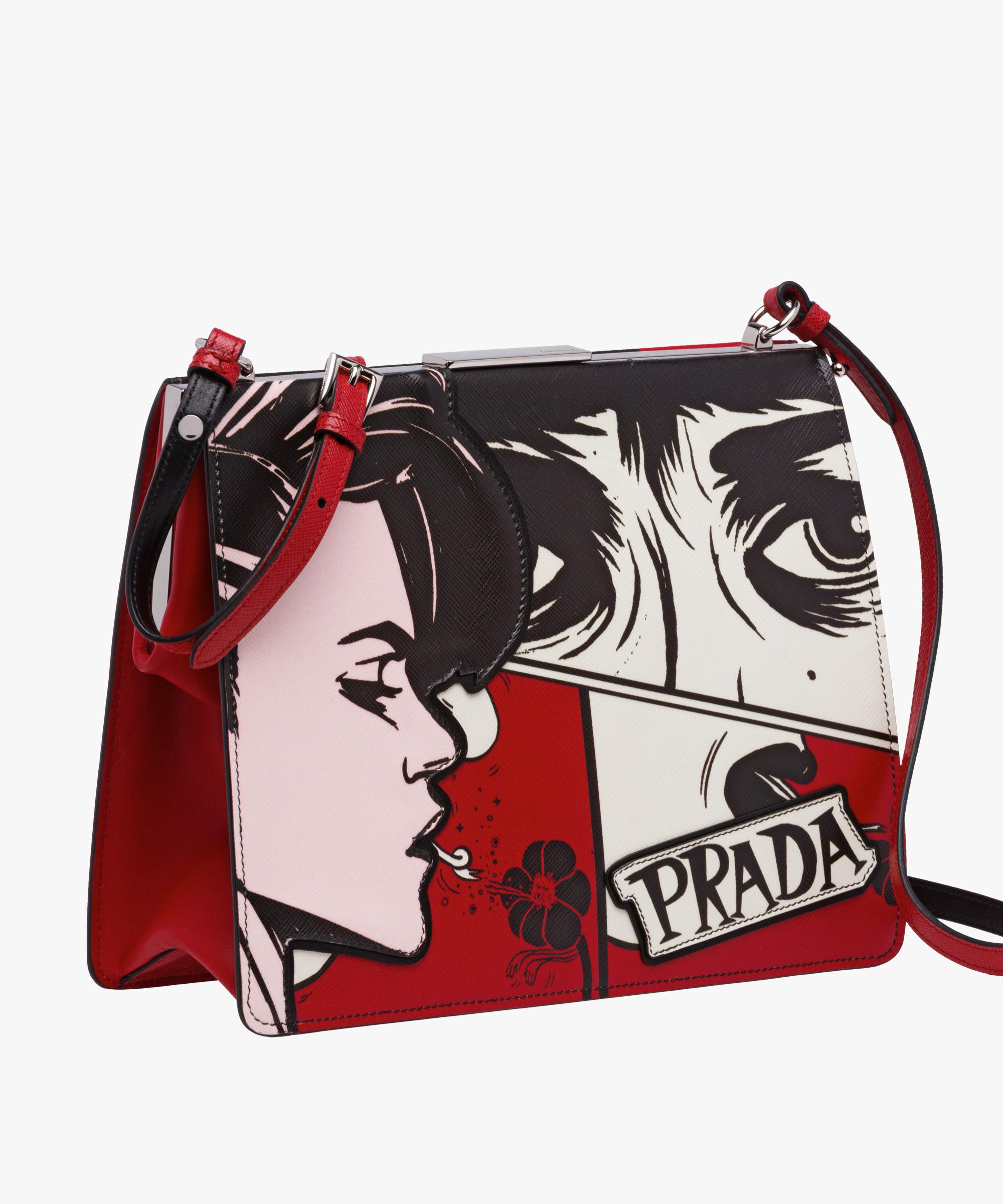 f121313684ce73 ... order lyst prada light frame printed leather bag in red 22459 93ba3