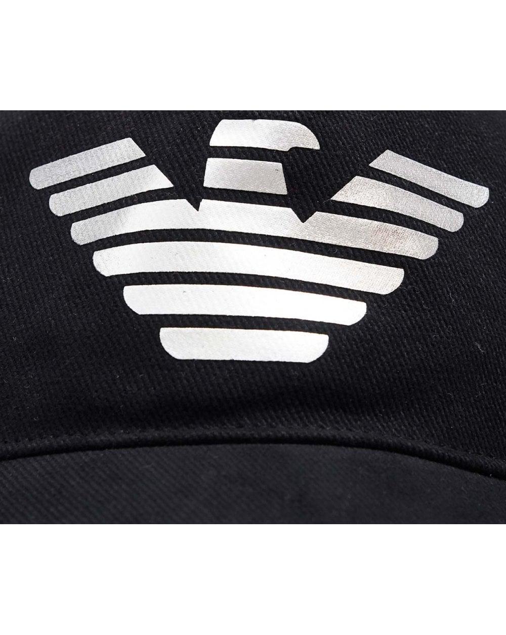 6cb0b183776e2 Armani Jeans Metallic Eagle Logo Cap in Black for Men - Lyst