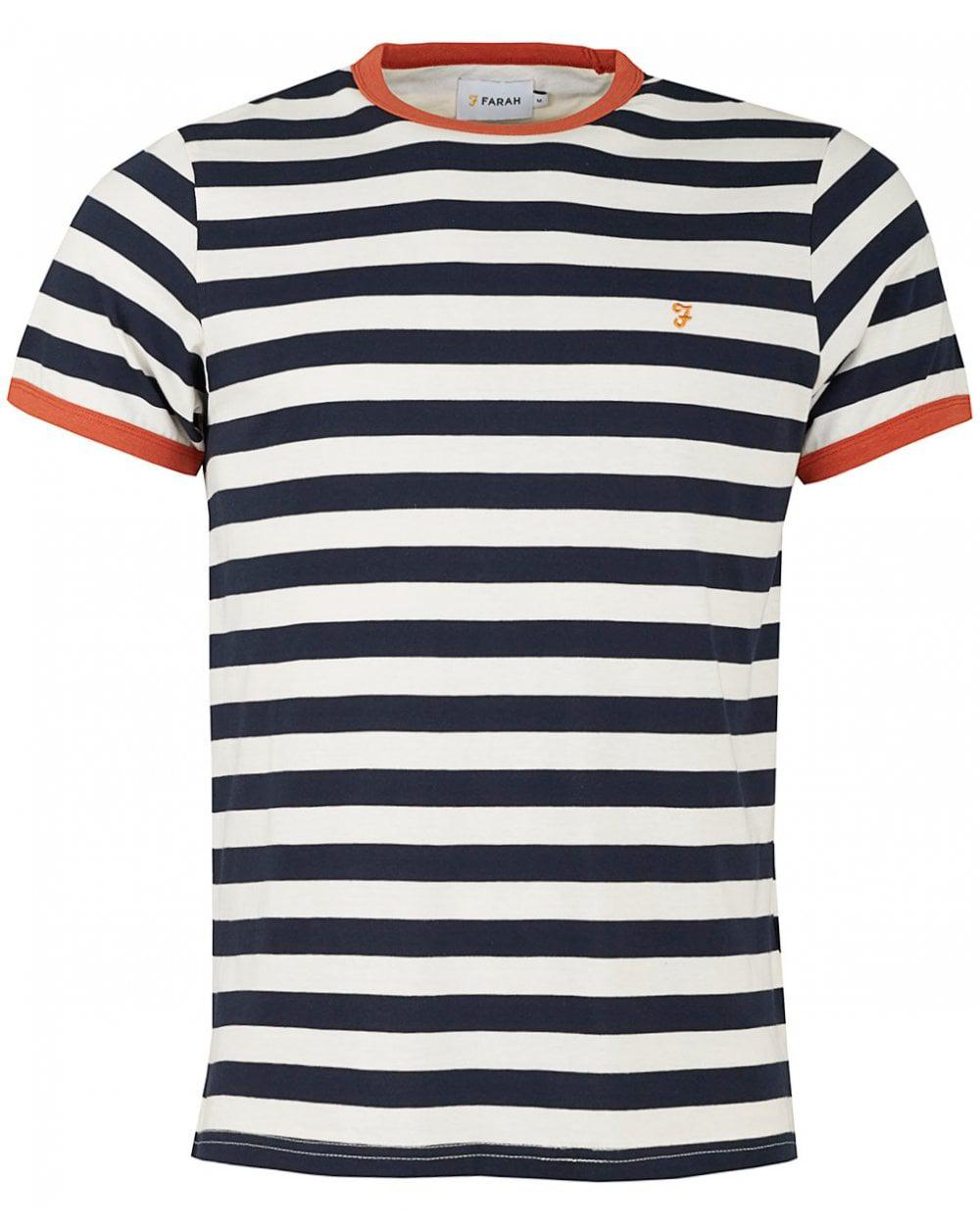 46568d551e36 Farah Stripy Tshirt Navy Beige in Blue for Men - Save 51% - Lyst