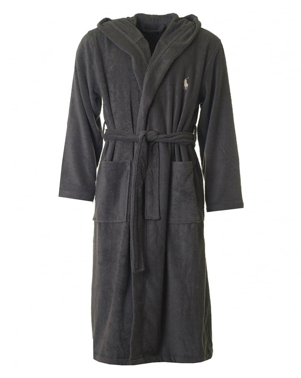 polo ralph lauren hooded dressing robe in gray lyst. Black Bedroom Furniture Sets. Home Design Ideas