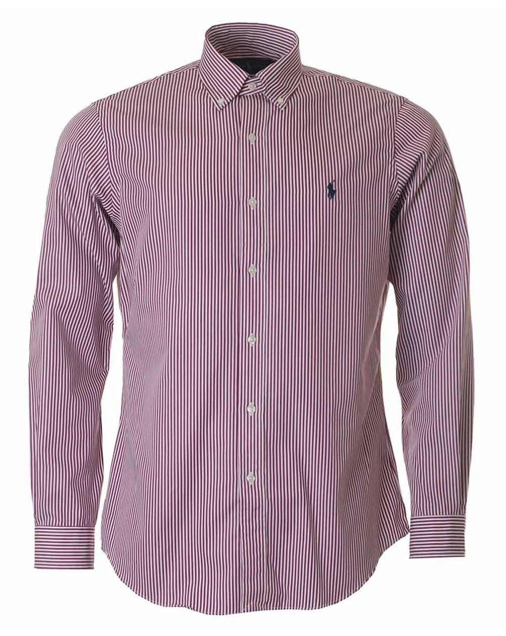Lyst polo ralph lauren custom fit striped button down for Custom pattern button down shirts