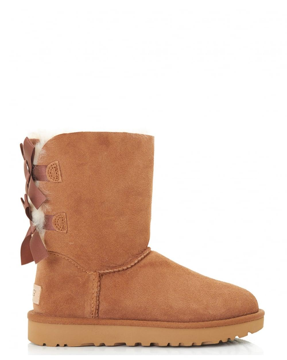 ugg new bailey bow shearling boots in brown lyst