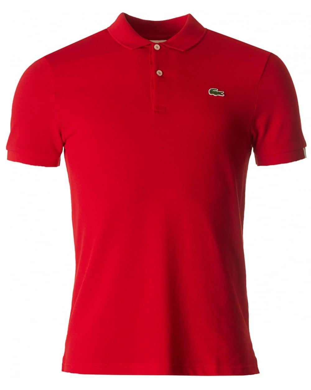 lacoste l ive short sleeved slim fit polo in red for men. Black Bedroom Furniture Sets. Home Design Ideas