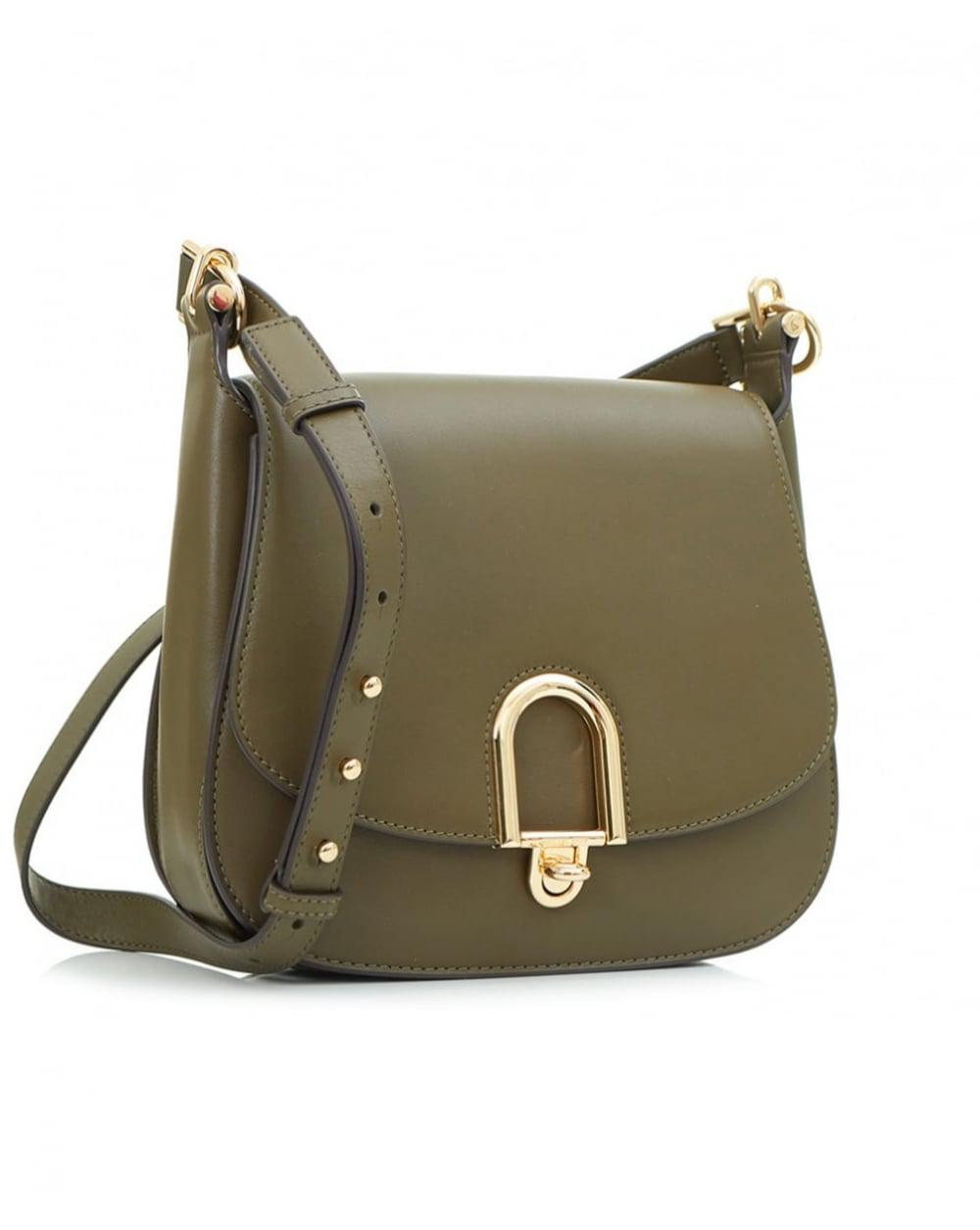 fbcb5db86cdb Michael Kors Delfina Large Leather Saddle Bag in Green - Lyst