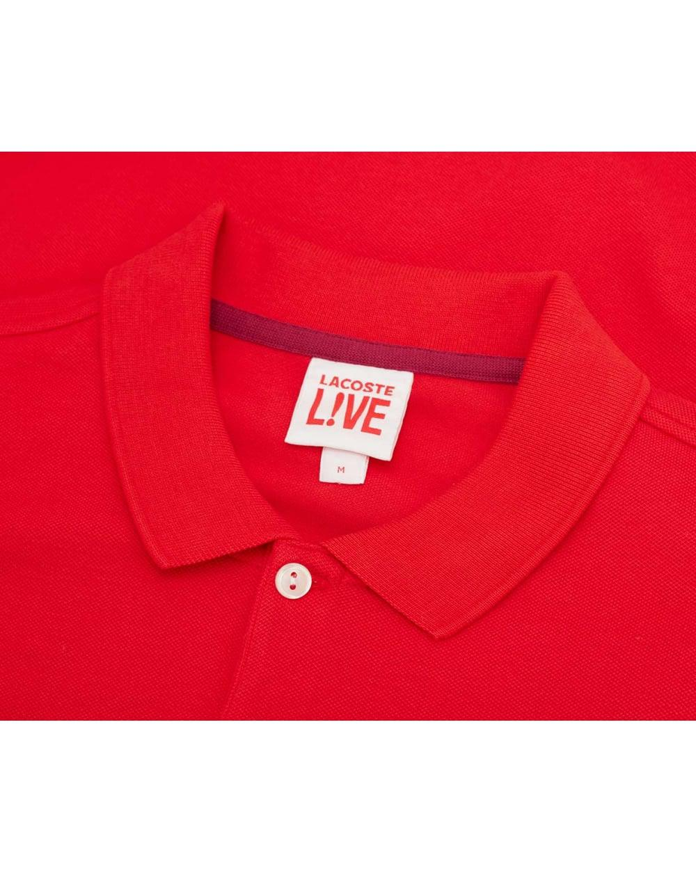 Lyst Lacoste L Ive Short Sleeved Big Croc Pique Polo In Red For Men
