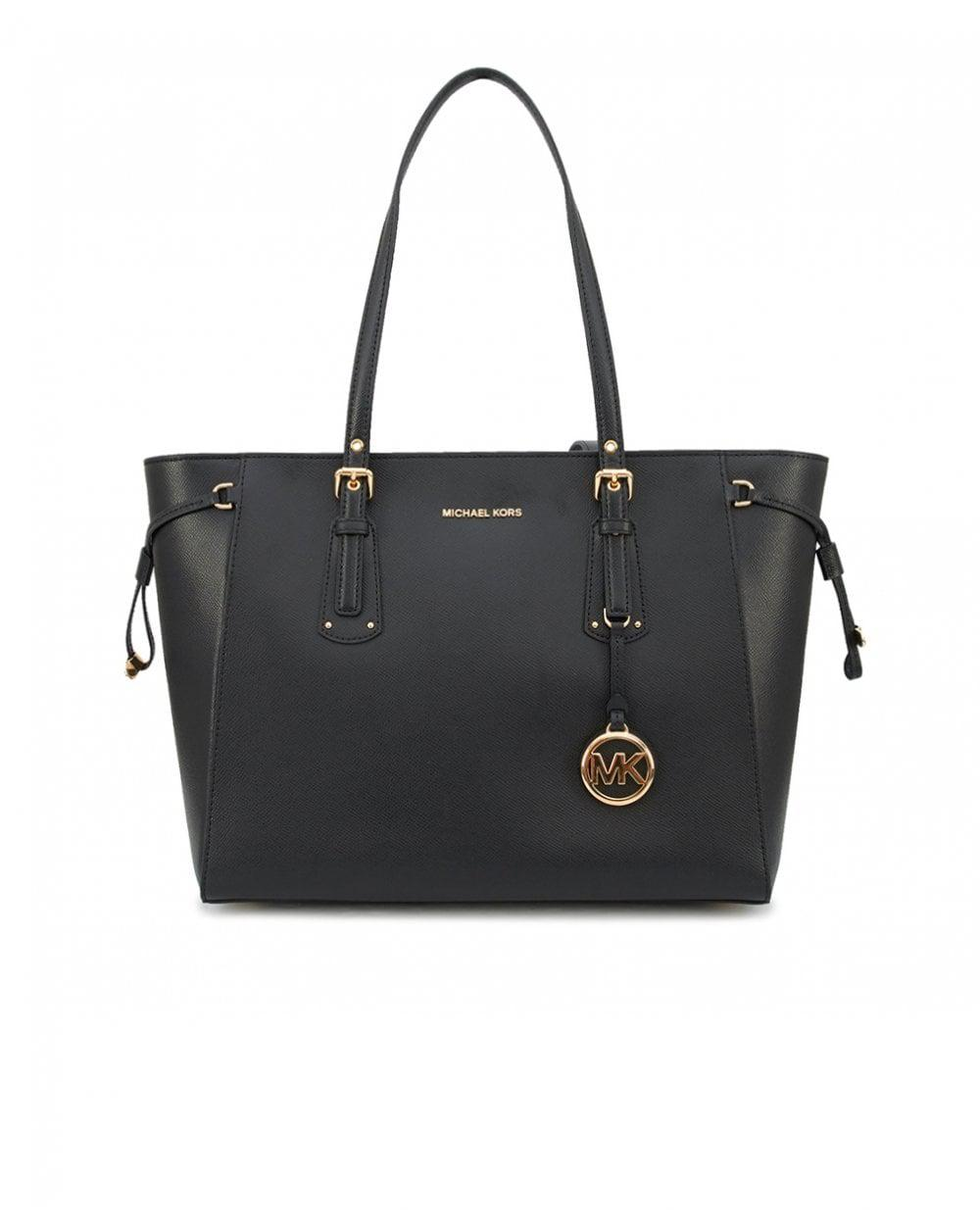 9b879db7cc47 Michael Kors - Black Voyager East West Top Zip Leather Tote - Lyst. View  fullscreen
