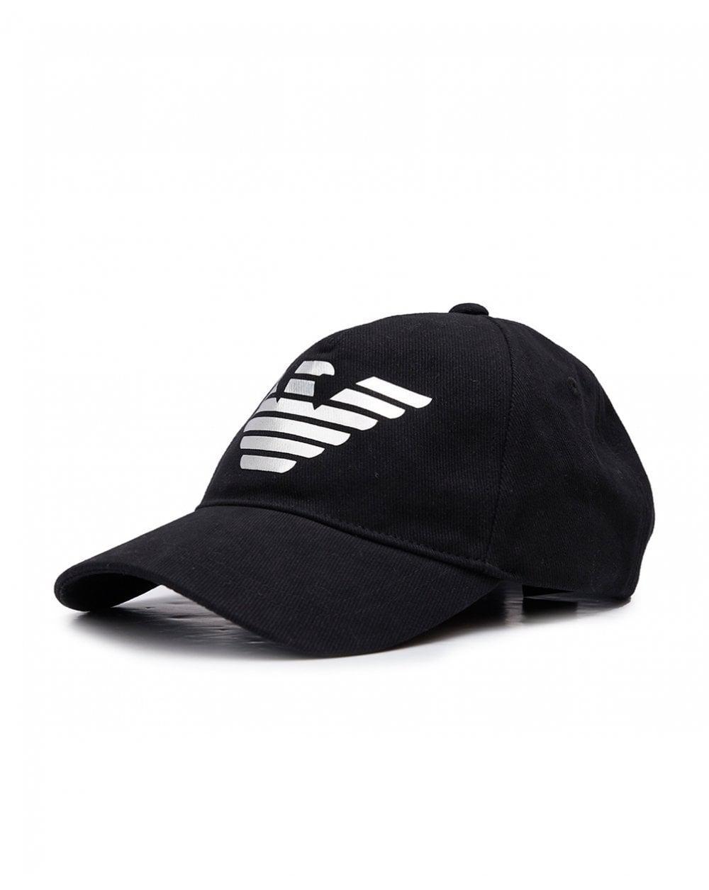fe1571938e8 Armani Jeans Metallic Eagle Logo Cap in Black for Men - Lyst