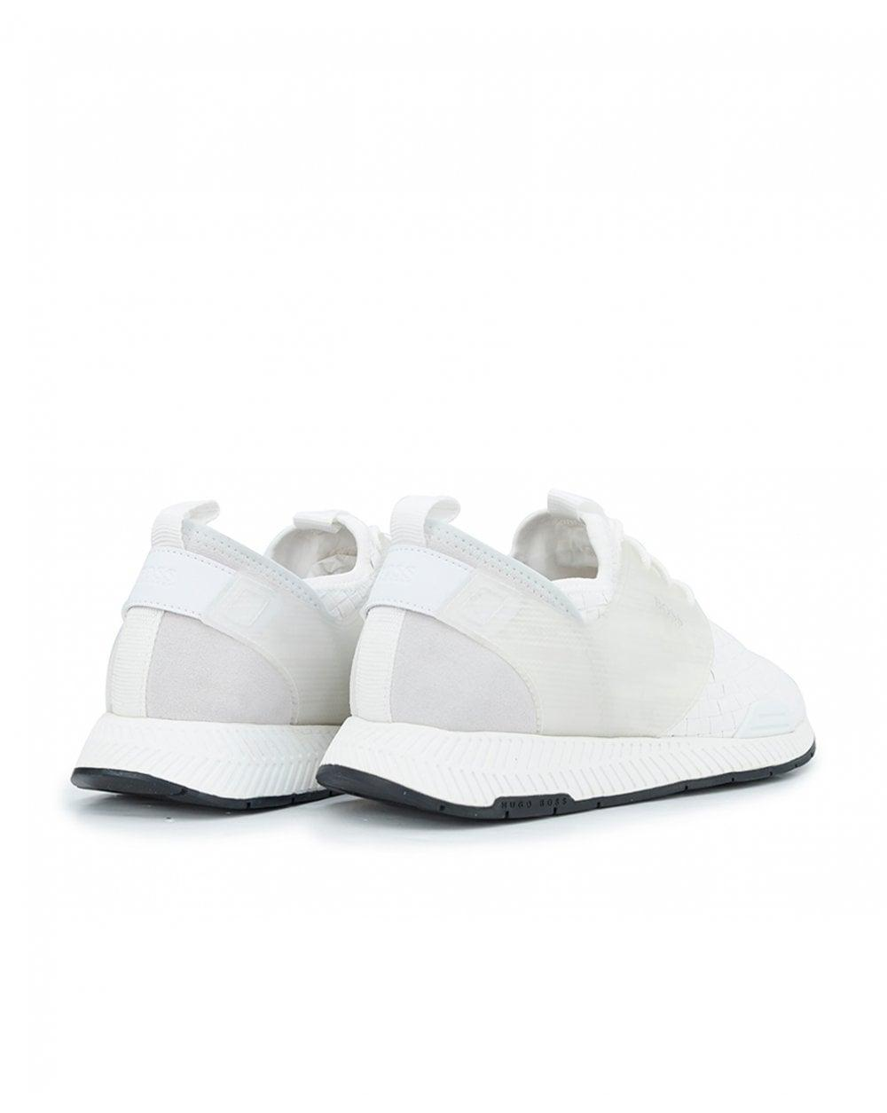 3415d8a9e BOSS Titanium Suede Trainers in White for Men - Lyst