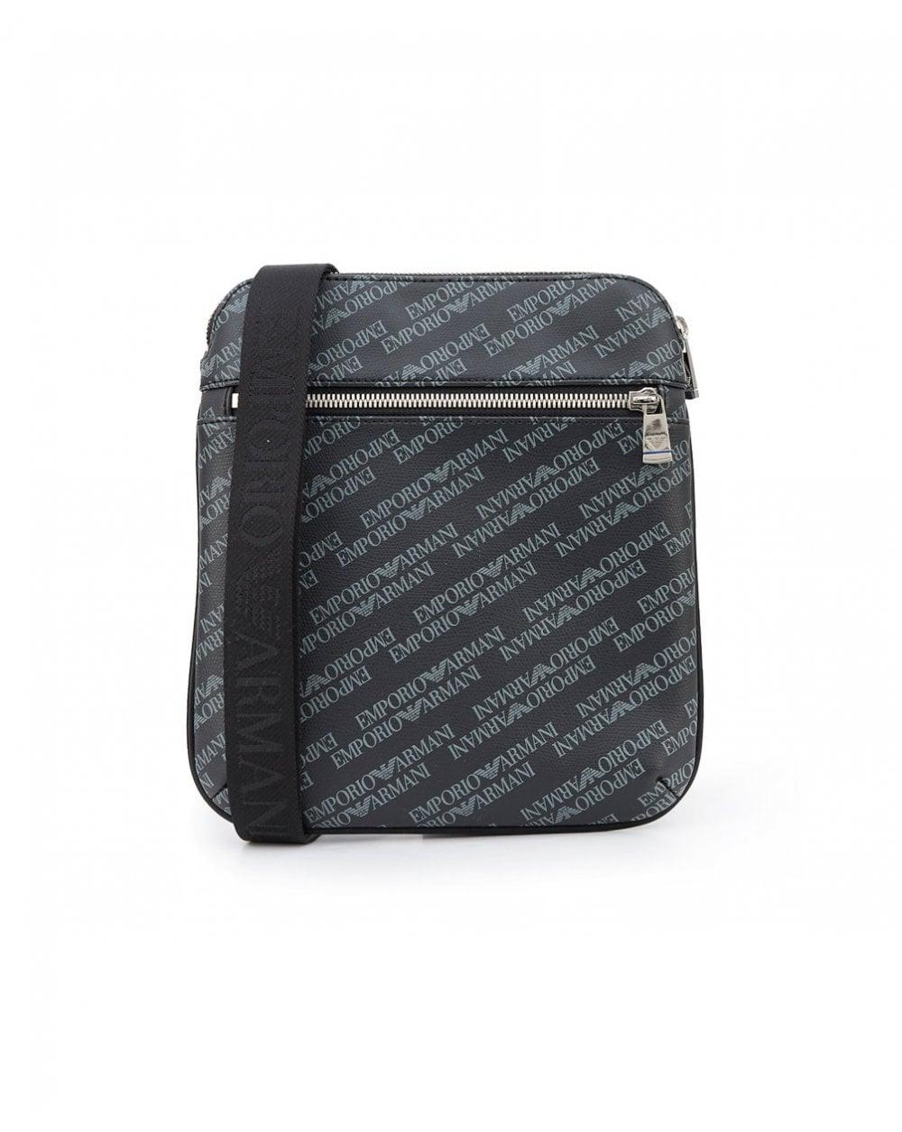 Lyst - Armani Jeans All Over Logo Leather Stash Bag in Black for Men 3355457b3feaa