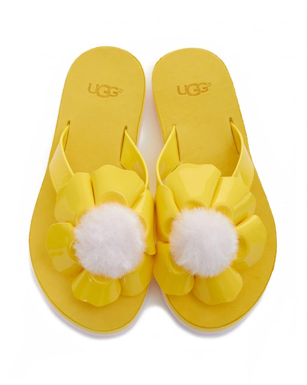 9c1f1ffd251d84 Ugg - Yellow Poppy Flower Flip Flops - Lyst. View fullscreen