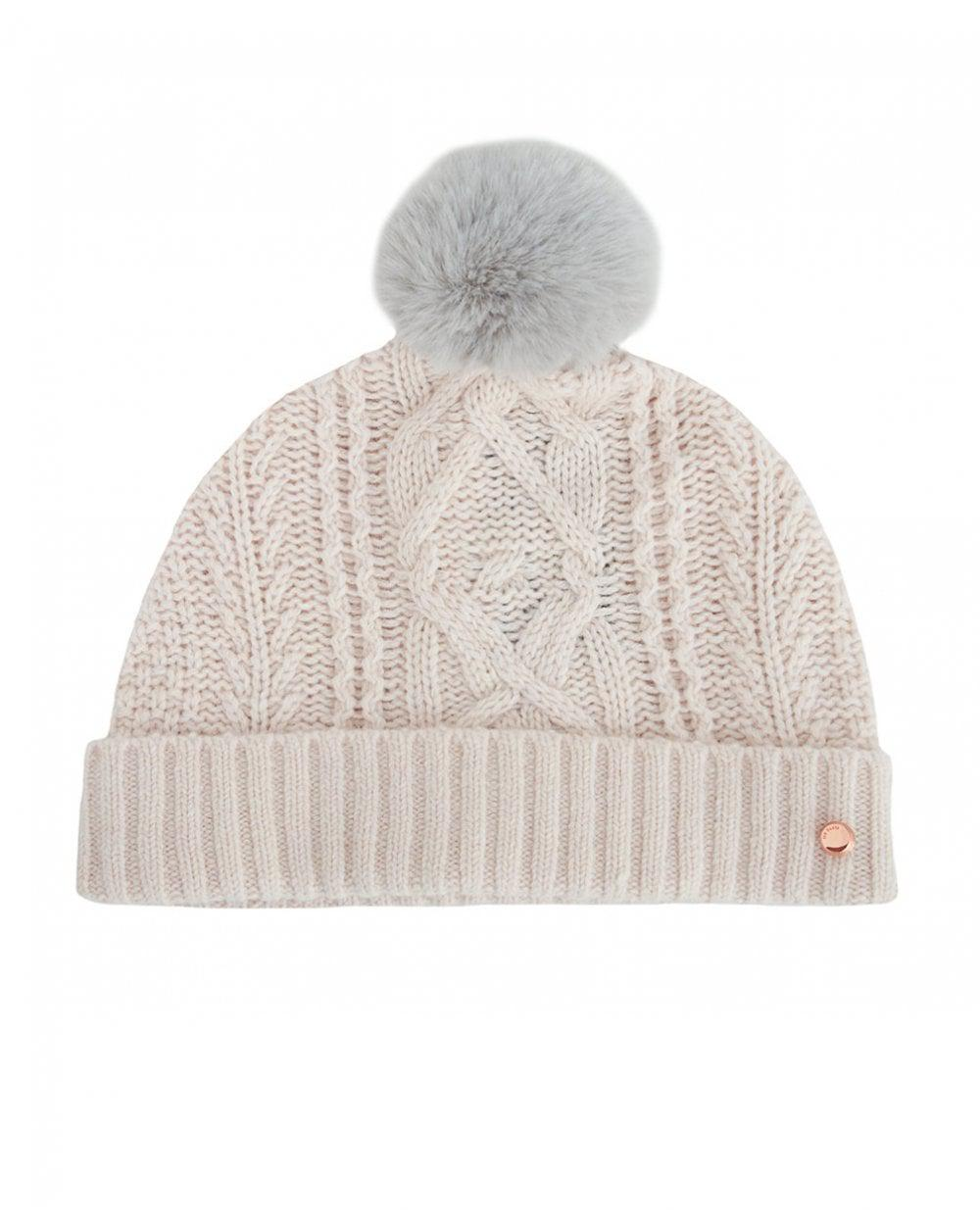 Ted Baker Raisa Knitted Pom Pom Hat And Sock Set in Natural - Lyst 23fabec87caf