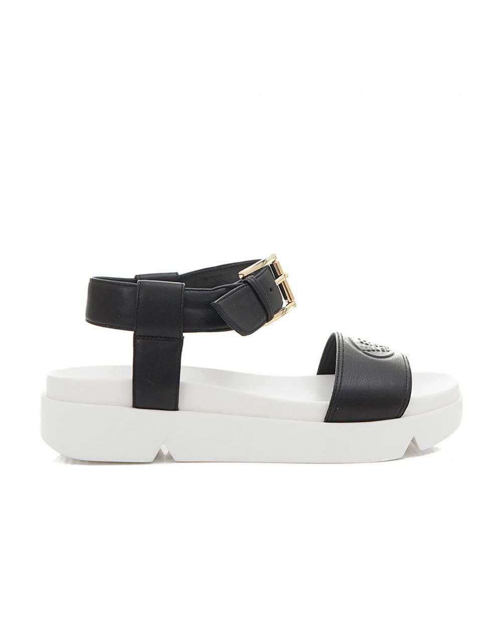 Emporio Armani Eagle Logo Wedge Sandals in Black - Lyst b43a42b85a9
