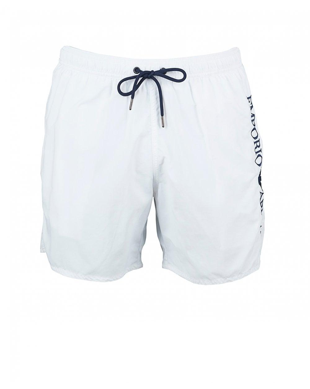 313599c996 Lyst - Emporio Armani Embossed Script Logo Swim Shorts in White for Men