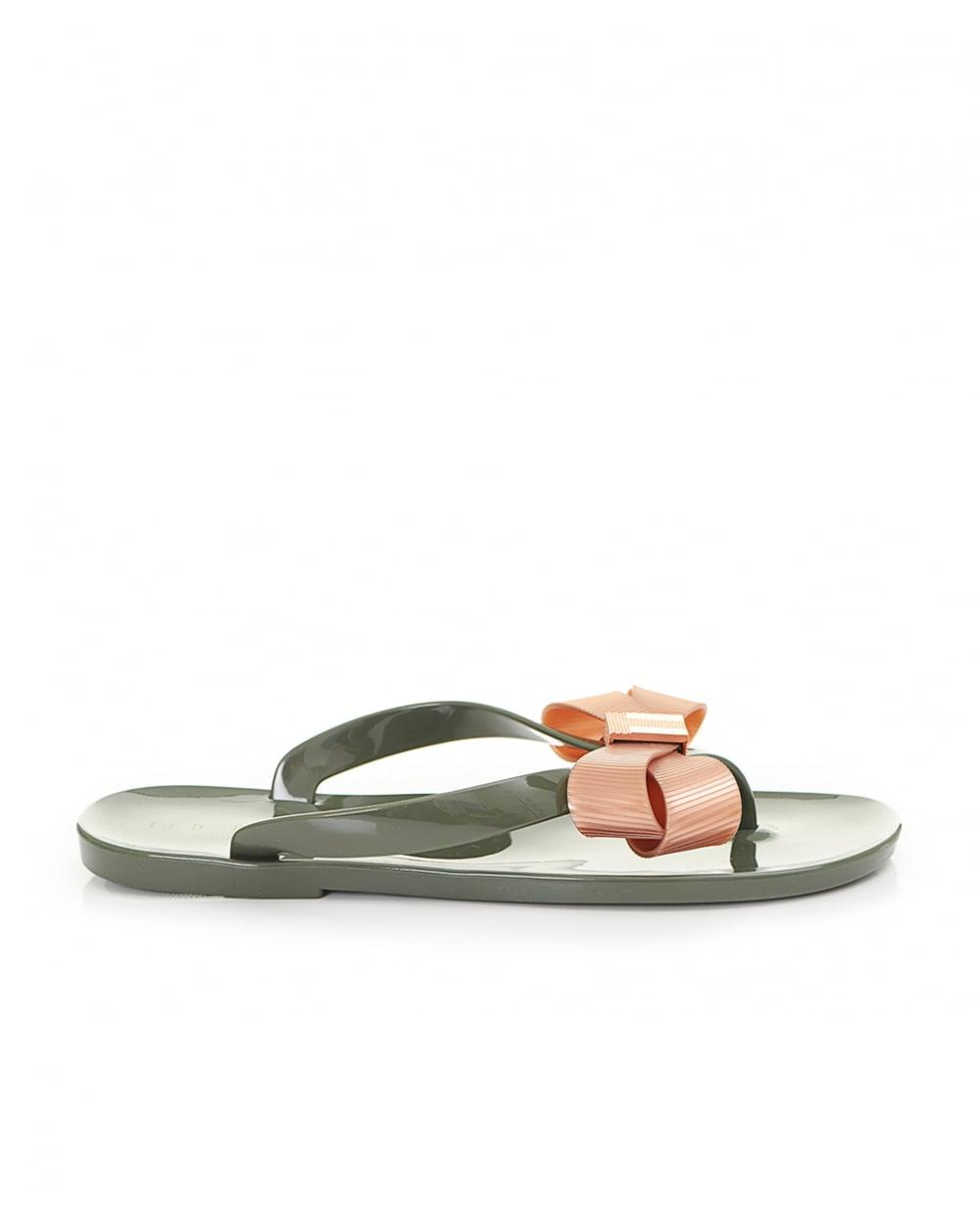 66b7a142fc1b Lyst - Ted Baker Bow Front Jelly Flip Flops in Green