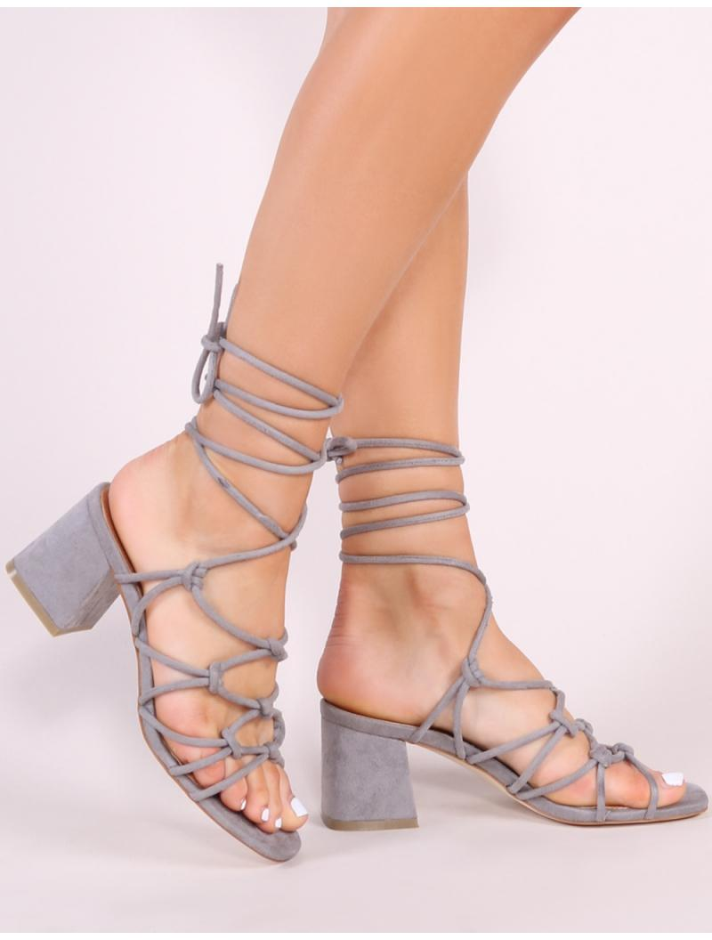 149b70c77c875e Public Desire. Women s Gray Freya Knotted Strappy Block Heeled Sandals In  Grey Faux Suede