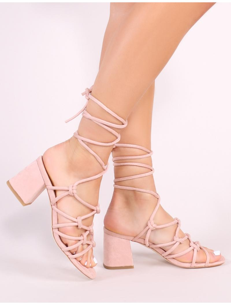 73ccdabcc88 Public Desire. Women s Blue Freya Knotted Strappy Block Heeled Sandals In  Blush Nude Faux Suede