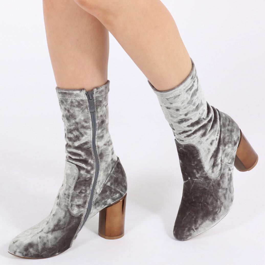 dc1bba20598 Lyst - Public Desire Elva Mirrored Heel Ankle Boots In Silver Velvet ...