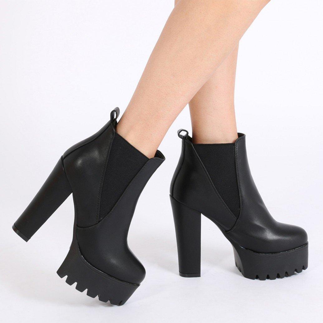88b3747533f0 Lyst - Public Desire Hallie Black Pu High Heel Chelsea Boots in Natural