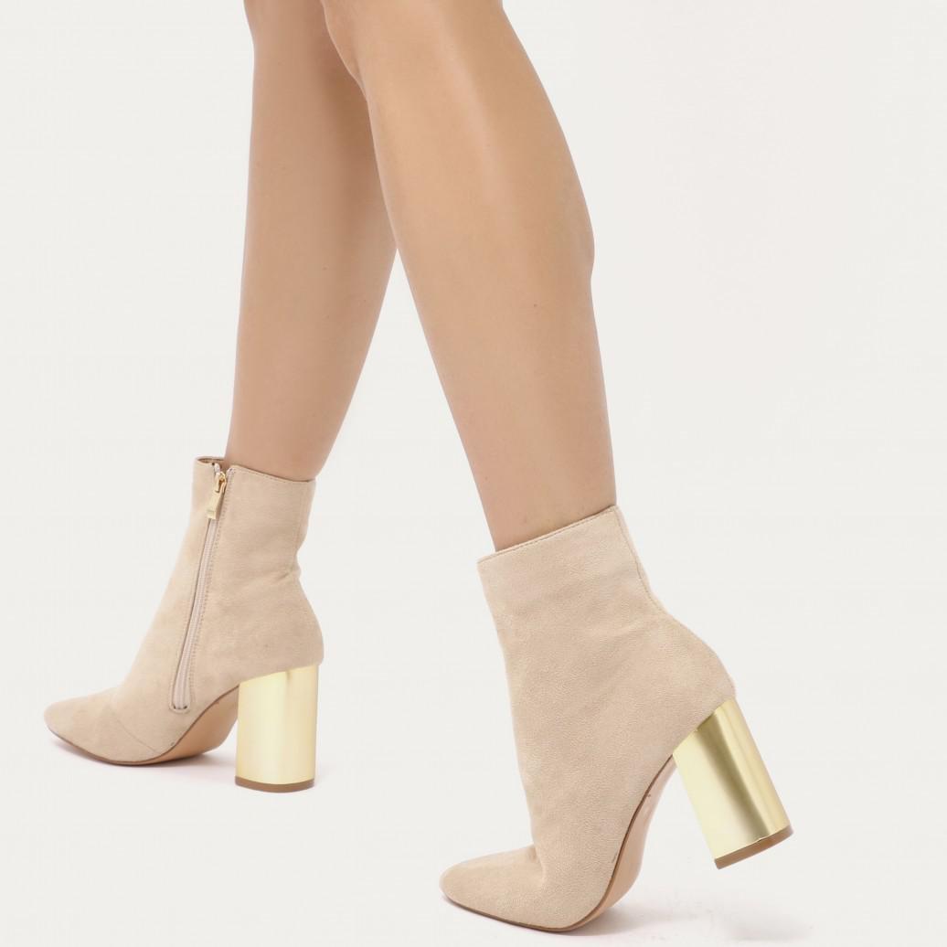 Lyst - Public Desire Orla Metallic Gold Heel Ankle Boots In Nude ... 61106b5d3ef