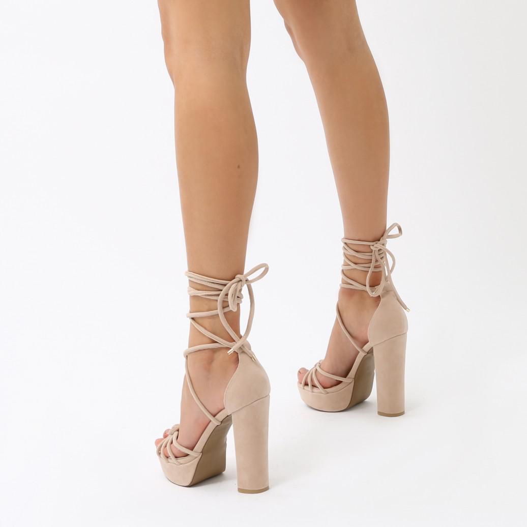 4377ceebd5 Public Desire Tassie Knotted Lace Up Platform Heels In Nude Faux ...