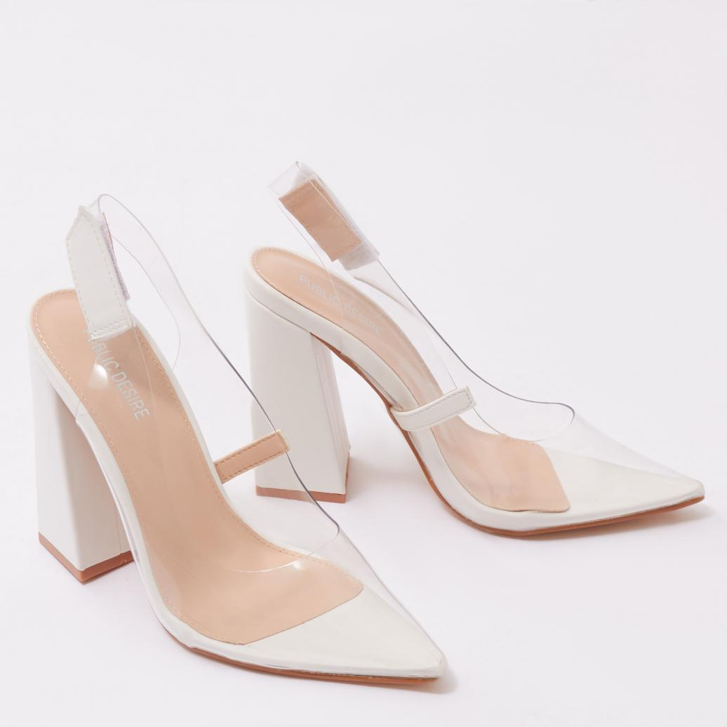 25a2b34faad Lyst - Public Desire Lure Perspex Court Heels In White Faux Suede in ...