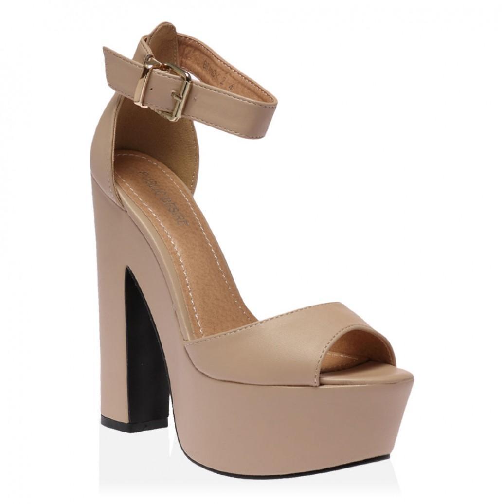 11f6a9c36f7734 Lyst - Public Desire Brandi Nude Pu Platform High Heel Sandals in ...