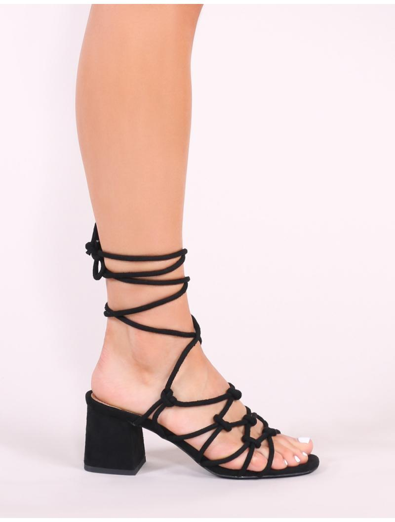 322d775a7e6 ... Freya Knotted Strappy Block Heeled Sandals In Black Faux Suede - Lyst.  View fullscreen