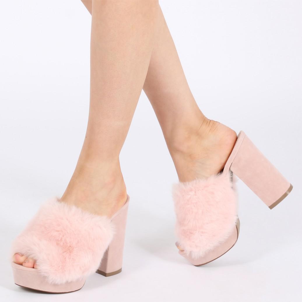 864a309f11c8 Public Desire Abigail Faux Fur Platform Mules In Pink in Pink - Lyst