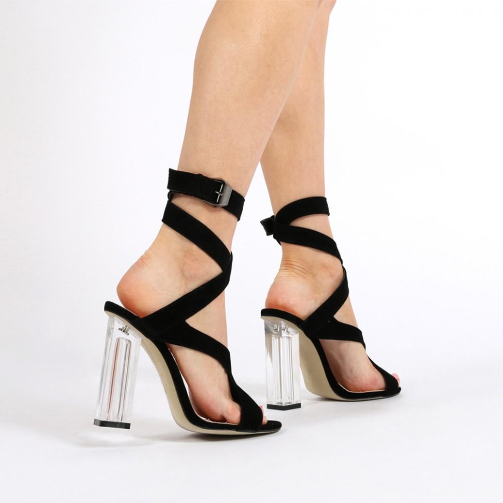 Public Desire Gloria Perspex Cut Out Heels In Black Faux Suede