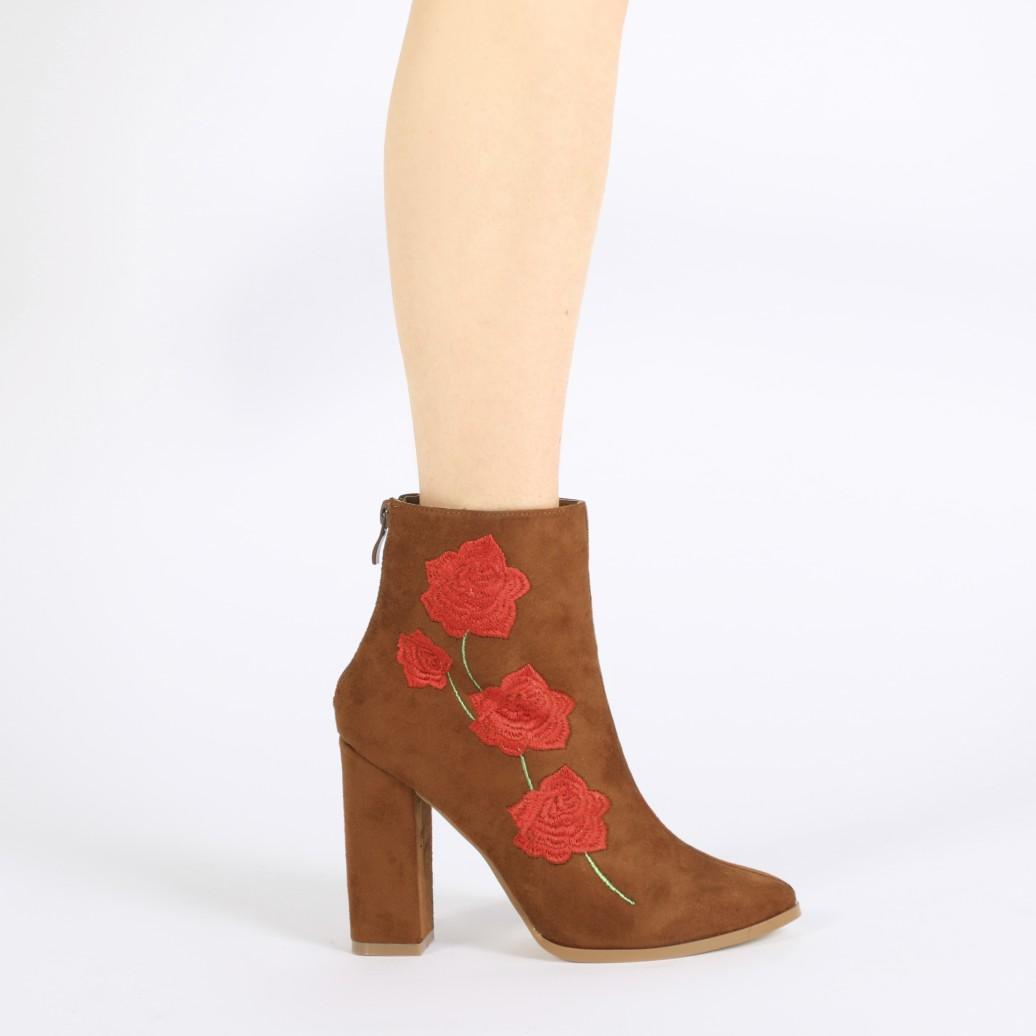 Public desire romeo rose embroidered ankle boots in tan