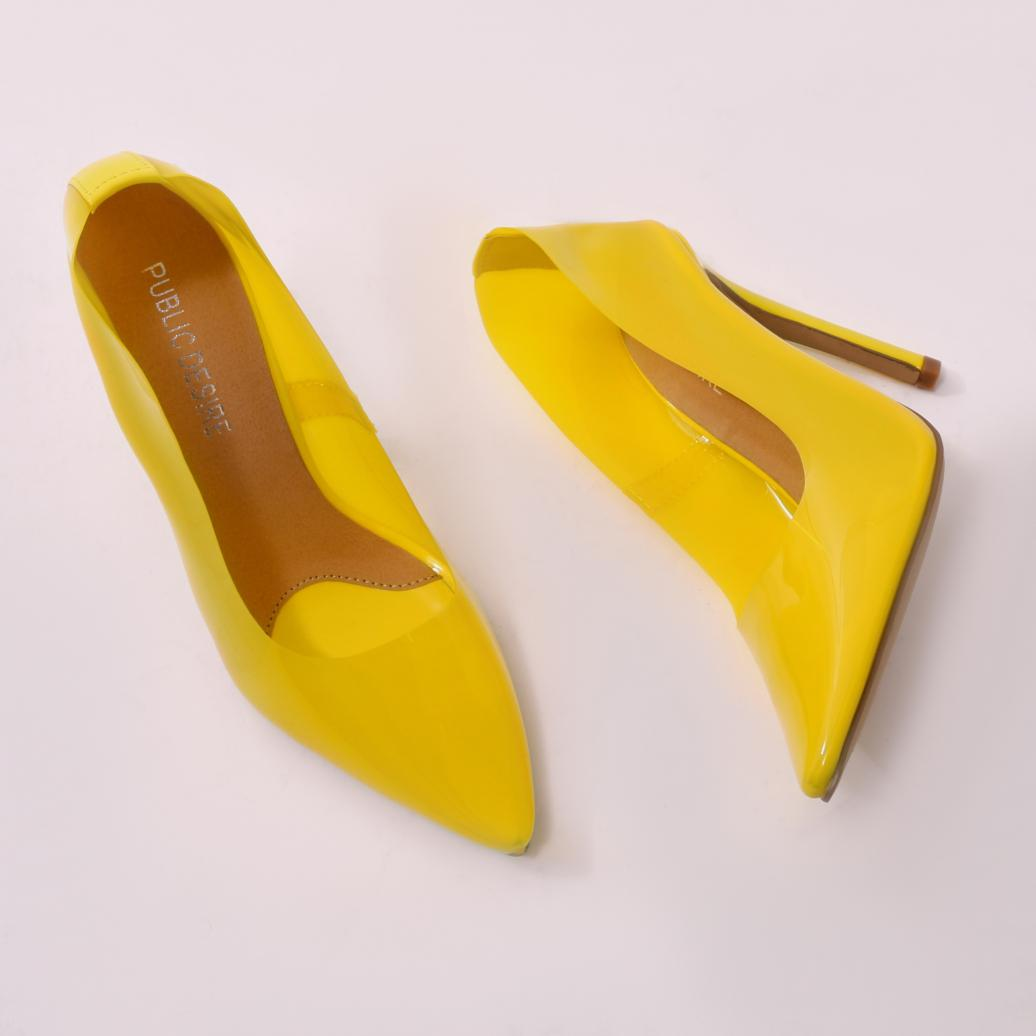 ee79b9c9e74 Lyst - Public Desire Extra Perspex Court Heels In Yellow in Yellow