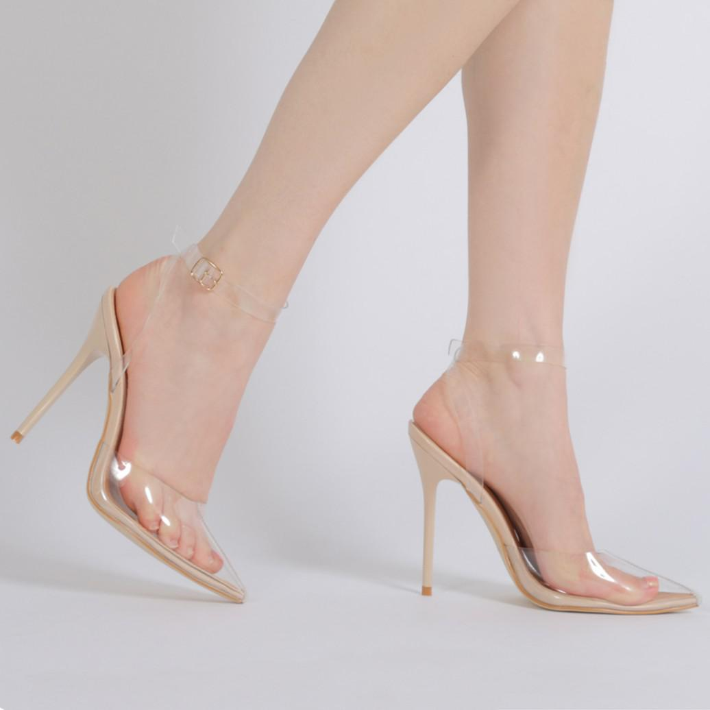 Public Desire Tonic Buckled Clear Perspex Heels in Patent