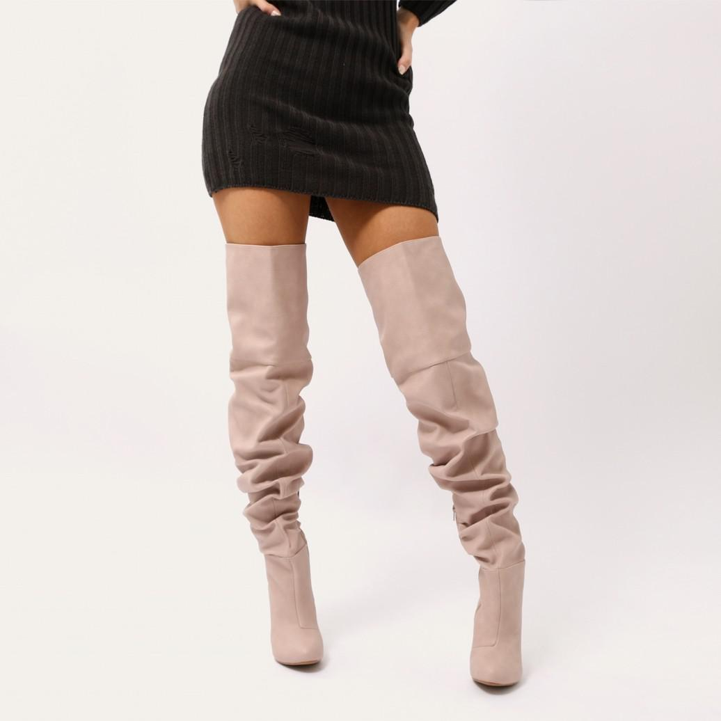 e0d890fc08d Lyst - Public Desire Ciara Over The Knee Slouch Boots In Blush Nude