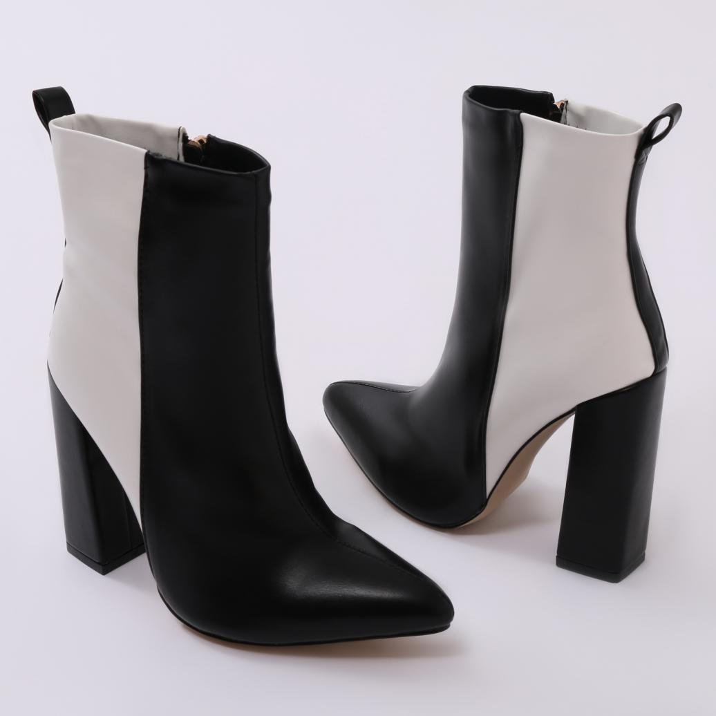 7b2771bebbf Lyst - Public Desire Mode Two-tone Ankle Boots In Black And White in ...