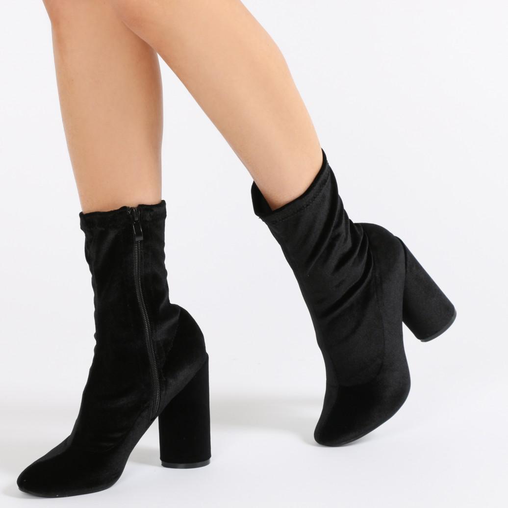 3fd96a3fdad9 Lyst - Public Desire Elsa Sock Fit Round Heel Ankle Boots In Black ...