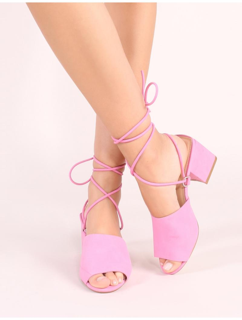 ee39319f5930 Lyst - Public Desire Paddington Lace Up Block Heeled Mules In Pink in Pink