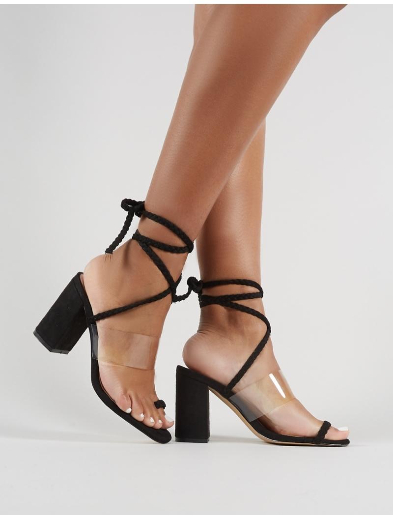 e698c450bd2 Lyst - Public Desire Mia Lace Up Block Heeled Sandals In Black Faux ...