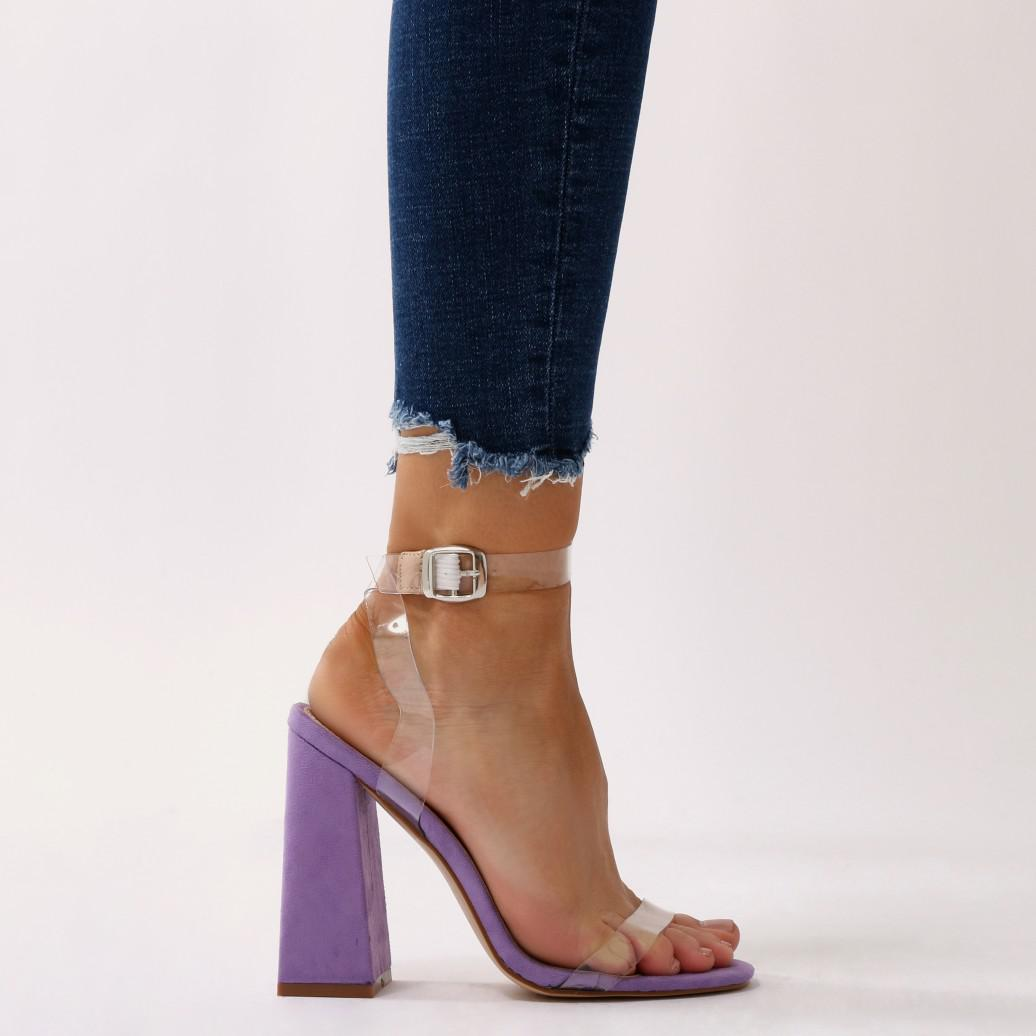 Public Desire Charlotte Clear Perspex High Heels in Faux Suede UagxAO2s8