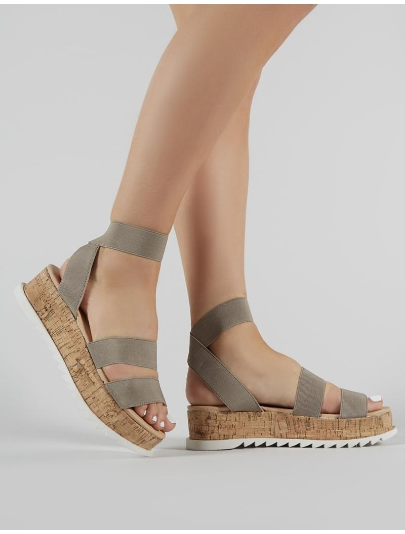 52b2e74576a0 Public Desire. Women s Brown Cassie Elasticated Strappy Flatform Sandals In  Taupe