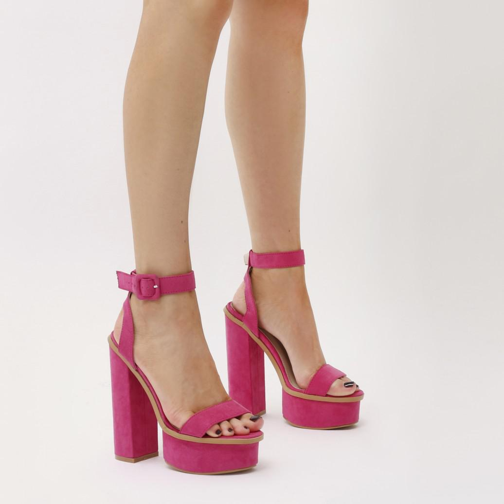 1f3ea1b9cad Lyst - Public Desire Valencia Platform Heels With Trim In Hot Pink ...