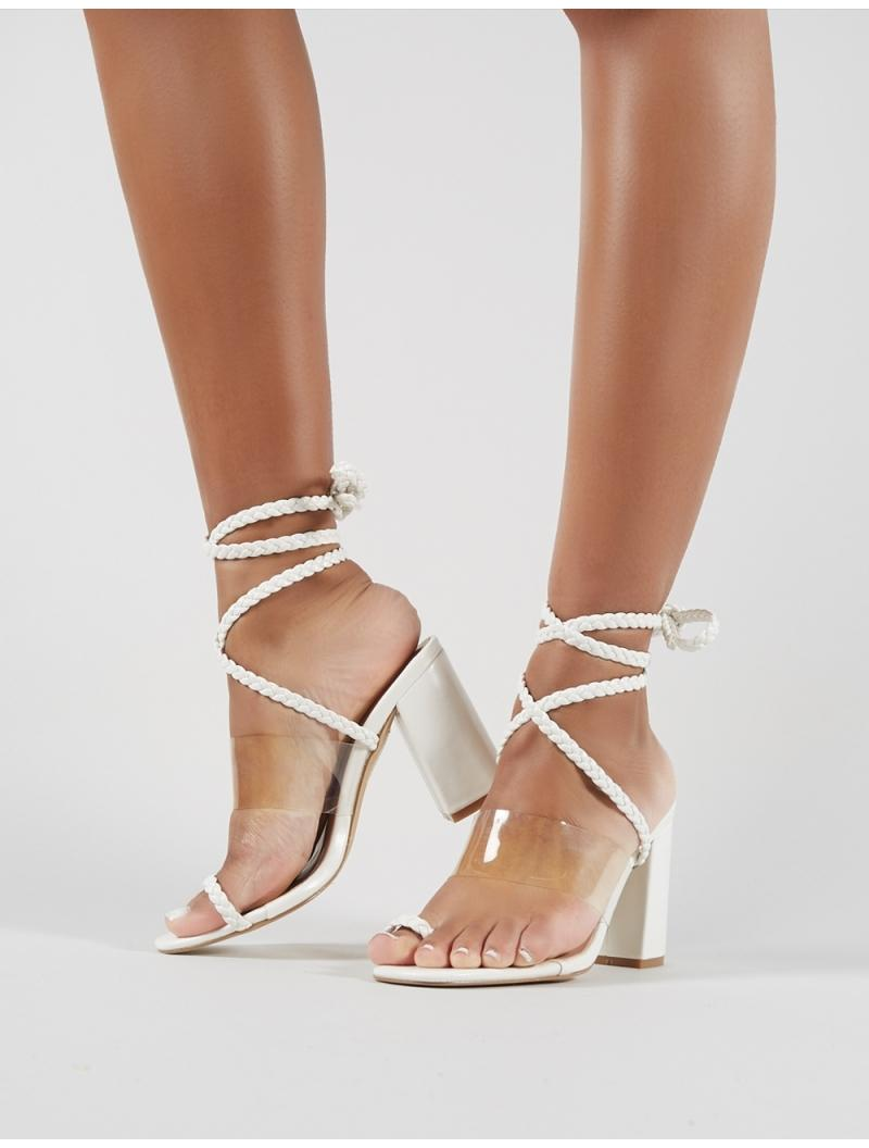 ce7af3112a5 Lyst - Public Desire Mia Lace Up Block Heeled Sandals In White Pu in ...