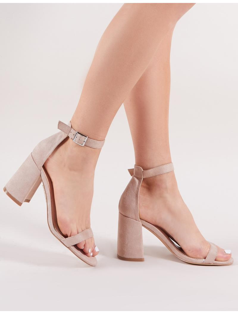 bbd936ea9bfd Lyst - Public Desire Grier Block Heel Barely Theres In Nude Faux Suede