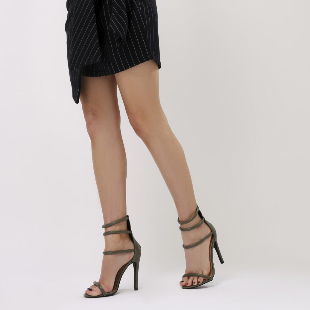 e40f8e74337532 Public Desire Nikki Strappy Stilettos In Khaki in Natural - Lyst